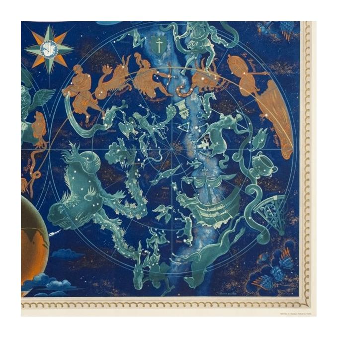 Affiche ancienne de voyage - Lucien boucher - 1951 - Air France Planisphère Constellation - 107.5 par 73 cm - 4