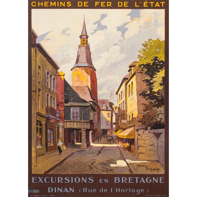 Affiche ancienne de voyage - Maurice Toussaint - 1928 - Dinan La Rue De L'Horloge Bretagne - 104.5 par 75 cm