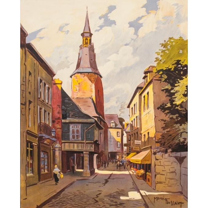 Affiche ancienne de voyage - Maurice Toussaint - 1928 - Dinan La Rue De L'Horloge Bretagne - 104.5 par 75 cm - 2