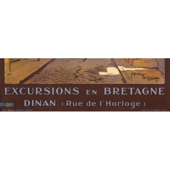 Affiche ancienne de voyage - Maurice Toussaint - 1928 - Dinan La Rue De L'Horloge Bretagne - 104.5 par 75 cm - 3
