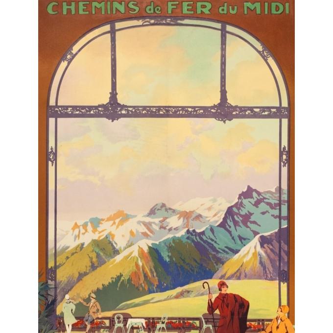 Affiche ancienne de voyage - Julien Lacaze - Circa 1920 - Superbagnères Luchon - 99.5 par 63 cm - 2