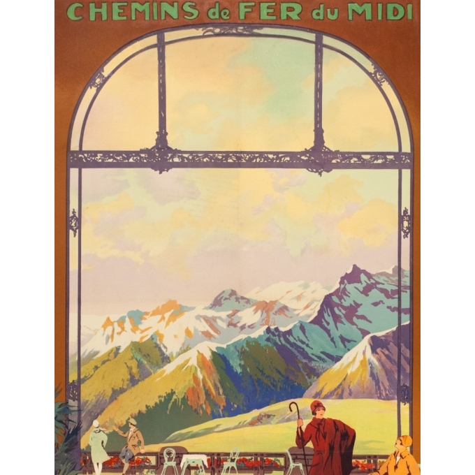 Vintage travel poster - Julien Lacaze - Circa 1920 - Superbagnères Luchon - 39.2 by 24.8 inches - 2