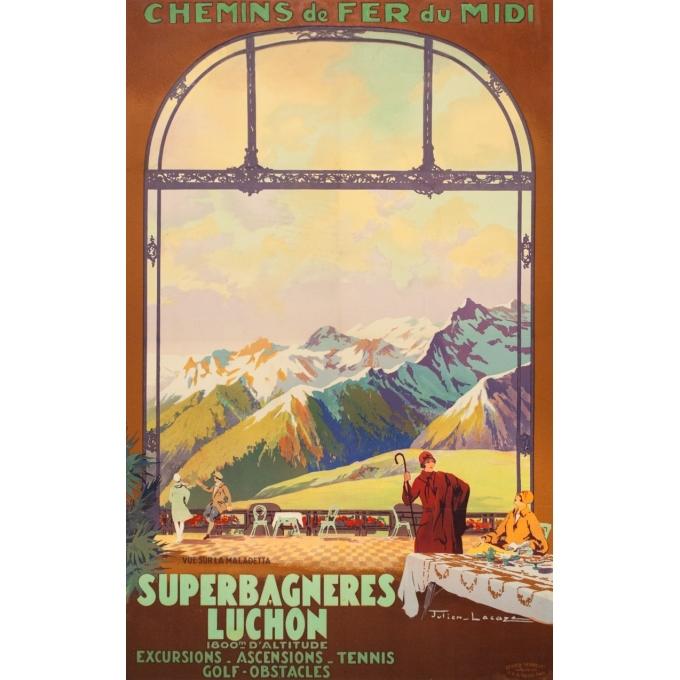 Affiche ancienne de voyage - Julien Lacaze - Circa 1920 - Superbagnères Luchon - 99.5 par 63 cm