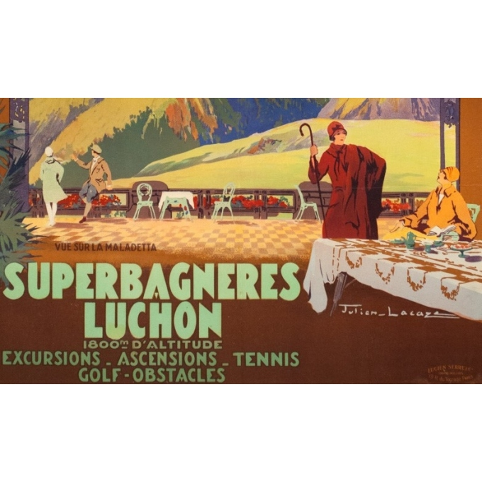 Vintage travel poster - Julien Lacaze - Circa 1920 - Superbagnères Luchon - 39.2 by 24.8 inches - 3
