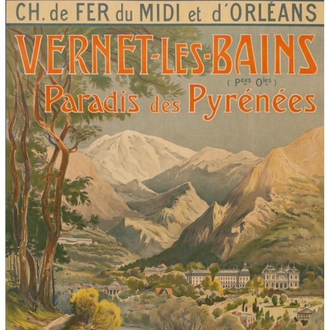 Affiche ancienne de voyage - Trinquier-Trianon - Circa 1910 - Vernet Les Bains - 105 par 75 cm - 2