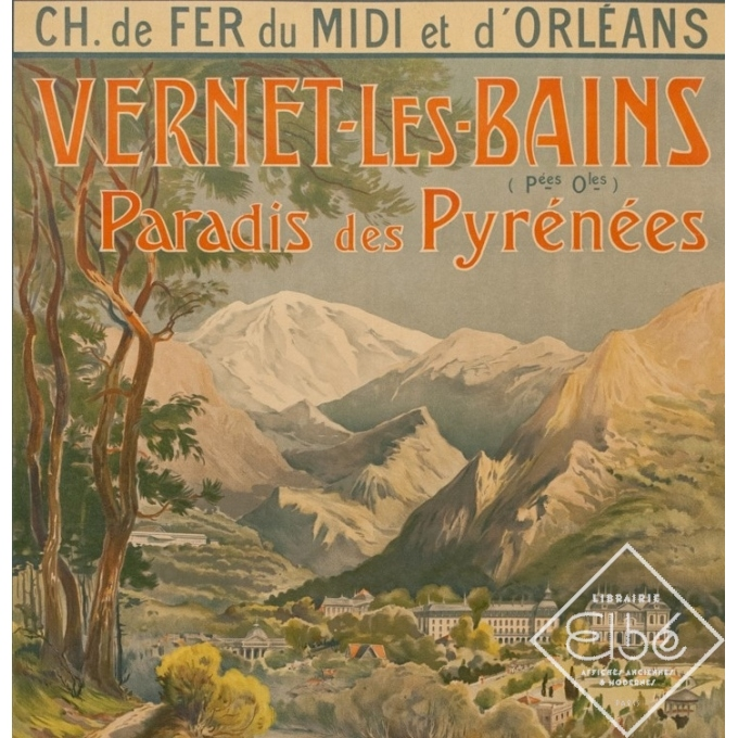 Vintage travel poster - Trinquier-Trianon - Circa 1910 - Vernet Les Bains - 41.3 by 29.5 inches - 2