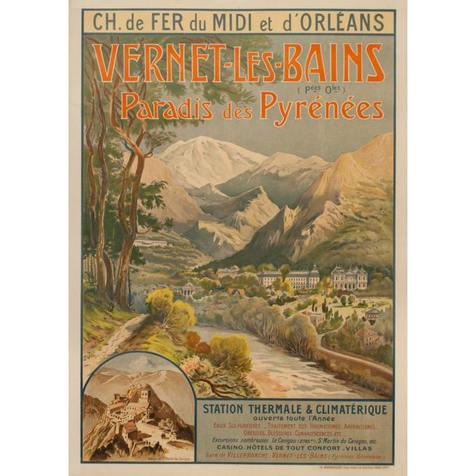 Affiche ancienne de voyage - Trinquier-Trianon - Circa 1910 - Vernet Les Bains - 105 par 75 cm