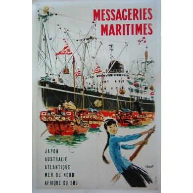 Original poster of East extreme maritime mail. Elbé Paris.