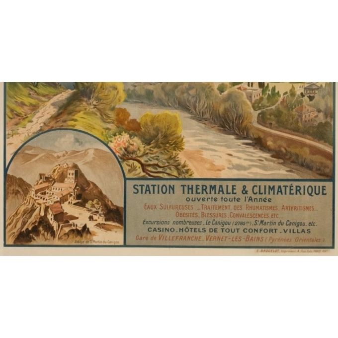 Affiche ancienne de voyage - Trinquier-Trianon - Circa 1910 - Vernet Les Bains - 105 par 75 cm - 3