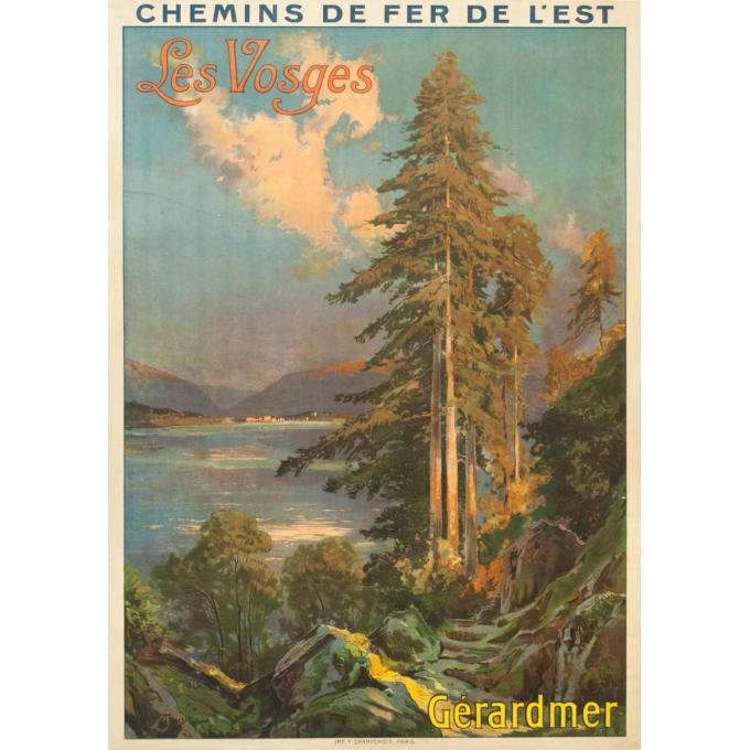 Affiche ancienne de voyage - Louis Tauzin - Circa 1910 - Gerardmer Les Vosges - 104.5 par 74 cm
