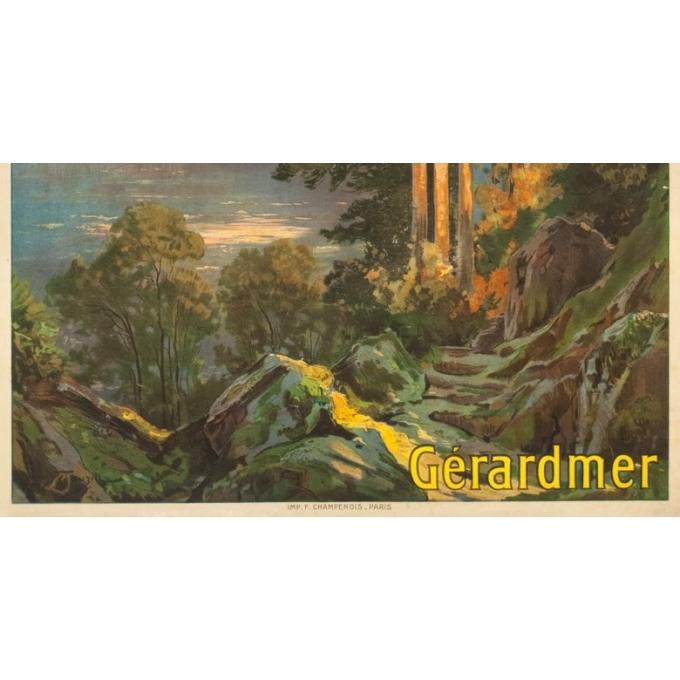 Affiche ancienne de voyage - Louis Tauzin - Circa 1910 - Gerardmer Les Vosges - 104.5 par 74 cm - 3