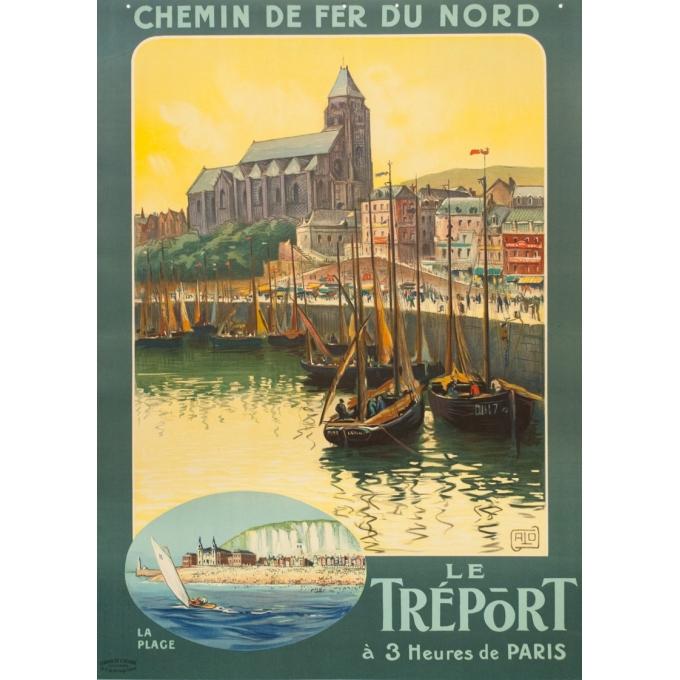 Affiche ancienne de voyage - Hallo - Circa 1920 - Le Tréport - 105 par 75 cm