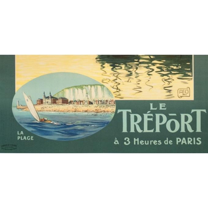 Affiche ancienne de voyage - Hallo - Circa 1920 - Le Tréport - 105 par 75 cm - 3