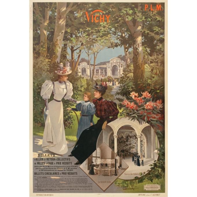 Affiche ancienne de voyage - Hugo d'Alési - Circa 1900 - Vichy Auvergne France - 105.5 par 74.5 cm