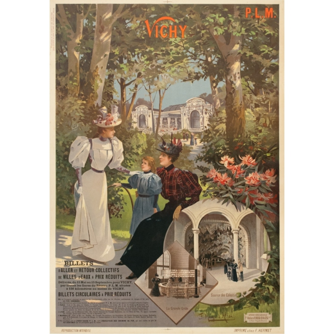 Vintage travel poster - Hugo d'Alési - Circa 1900 - Vichy Auvergne France - 41.5 by 29.3 inches