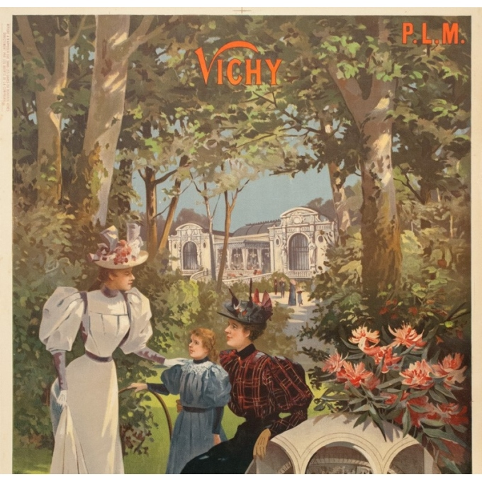 Vintage travel poster - Hugo d'Alési - Circa 1900 - Vichy Auvergne France - 41.5 by 29.3 inches - 2