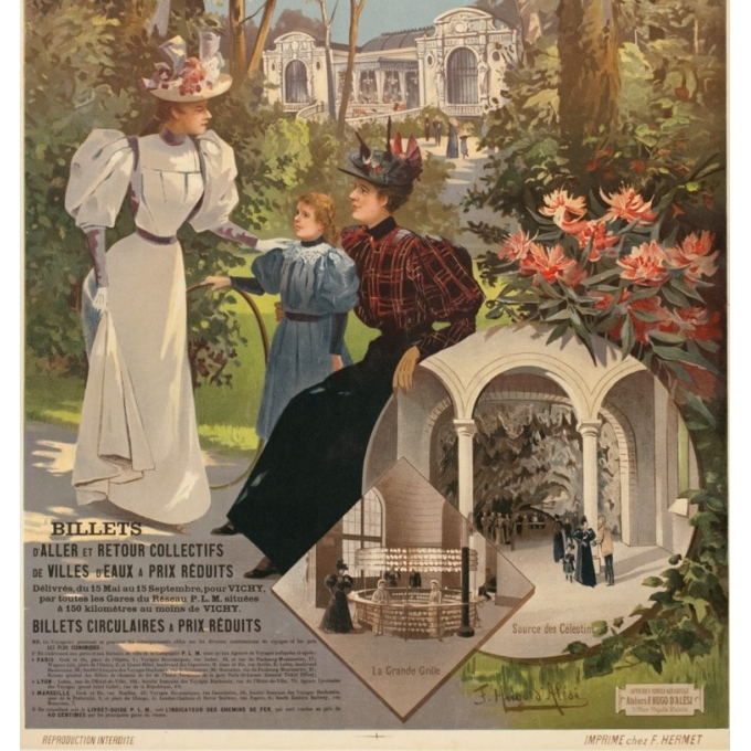 Vintage travel poster - Hugo d'Alési - Circa 1900 - Vichy Auvergne France - 41.5 by 29.3 inches - 3