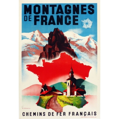 Original vintage poster of the Mountains of France by the State railways. Elbé Paris.
