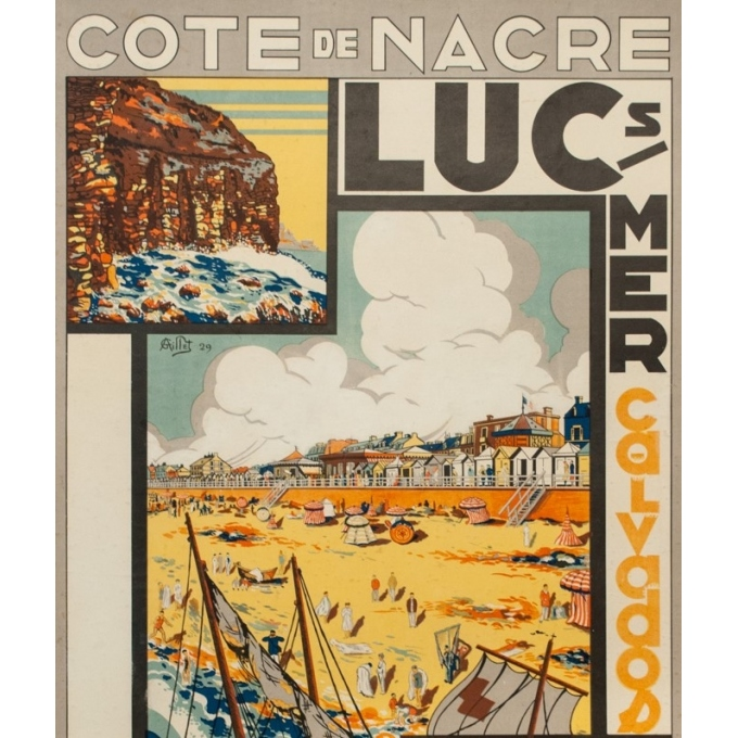Vintage travel poster - G. Aillet - 1929 - Luc Sur Mer Calvados Normandie - 41.5 by 28.7 inches - 2