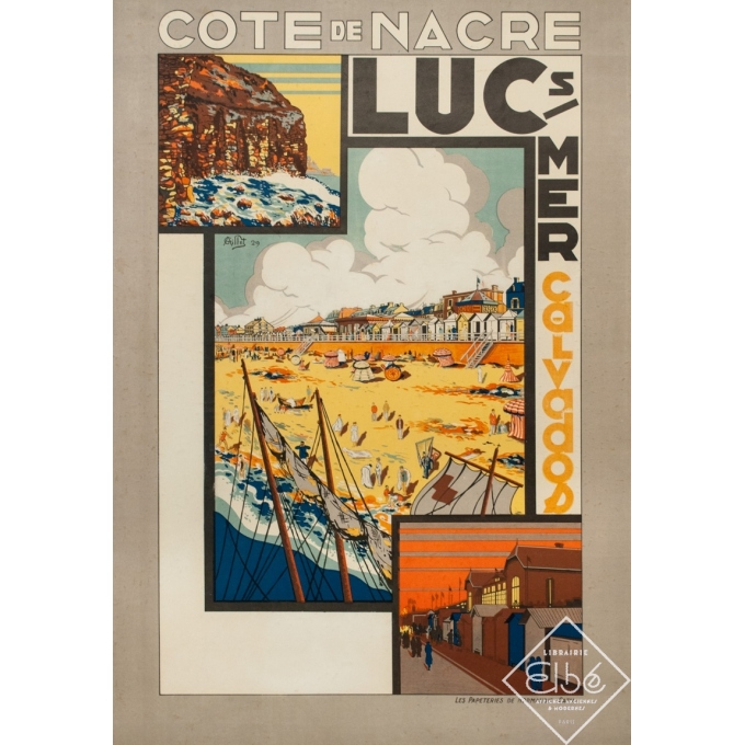 Affiche ancienne de voyage - G. Aillet - 1929 - Luc Sur Mer Calvados Normandie - 105.5 par 73 cm