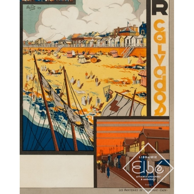 Vintage travel poster - G. Aillet - 1929 - Luc Sur Mer Calvados Normandie - 41.5 by 28.7 inches - 3