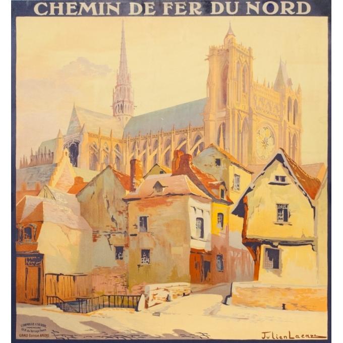 Affiche ancienne de voyage - Julien Lacaze - Circa 1910 - Amiens Visitez les Champs de Bataille de la Somme - 104 par 74 cm - 2