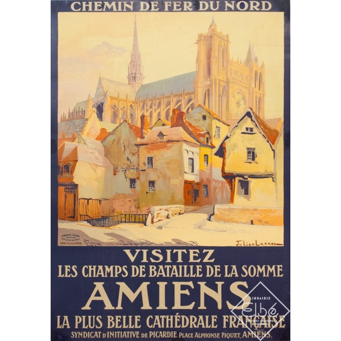 Affiche ancienne de voyage - Julien Lacaze - Circa 1910 - Amiens Visitez les Champs de Bataille de la Somme - 104 par 74 cm