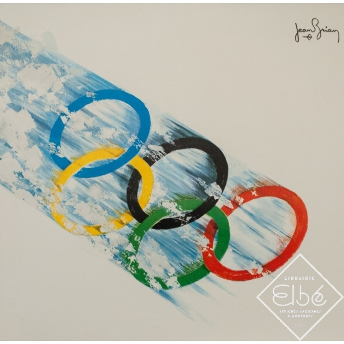 Affiche ancienne originale - Jean Brian - 1968 - Jeux Olympiques Grenoble 1968 - 95.5 par 63.5 cm - 2