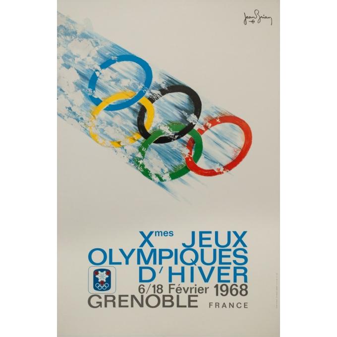 Affiche ancienne originale - Jean Brian - 1968 - Jeux Olympiques Grenoble 1968 - 95.5 par 63.5 cm