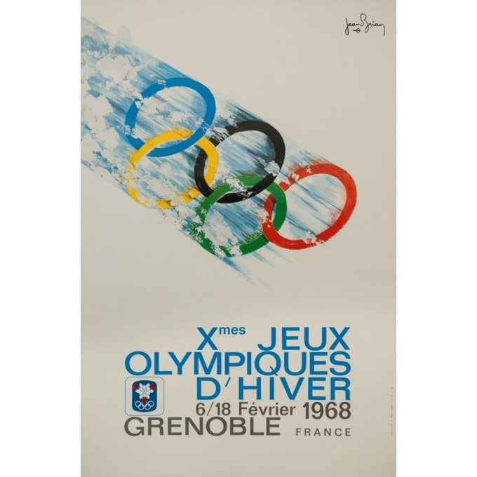 Vintage poster - Jean Brian - 1968 - Jeux Olympiques Grenoble 1968 - 37.6 by 25 inches