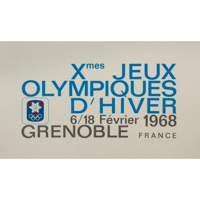 Affiche ancienne originale - Jean Brian - 1968 - Jeux Olympiques Grenoble 1968 - 95.5 par 63.5 cm - 3