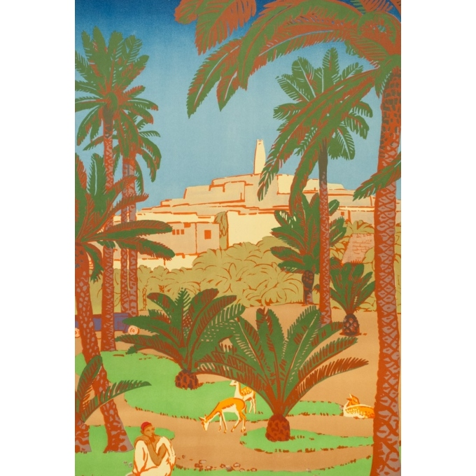 Vintage travel poster - Bouchaud - Circa 1925 - Ghardaia Algérie - 39.4 by 24.6 inches - 2