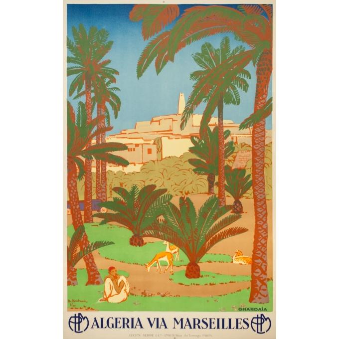 Affiche ancienne de voyage - Bouchaud - Circa 1925 - Ghardaia Algérie - 100 par 62.5 cm