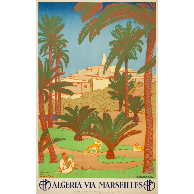 Vintage travel poster - Bouchaud - Circa 1925 - Ghardaia Algérie - 39.4 by 24.6 inches