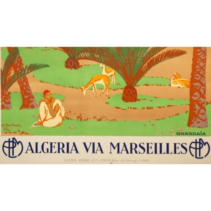 Affiche ancienne de voyage - Bouchaud - Circa 1925 - Ghardaia Algérie - 100 par 62.5 cm - 3
