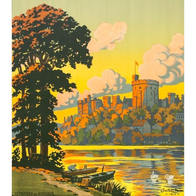 Affiche ancienne de voyage - Constant Duval - 1913 - Château De Windsor Uk Grande Bretagne - 105.5 par 75.5 cm - 2