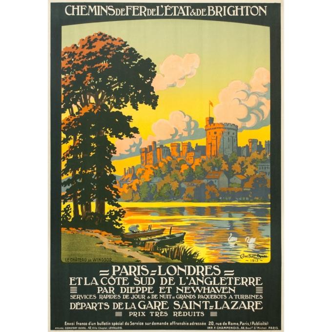 Affiche ancienne de voyage - Constant Duval - 1913 - Château De Windsor Uk Grande Bretagne - 105.5 par 75.5 cm