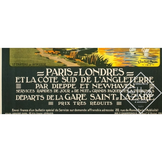 Affiche ancienne de voyage - Constant Duval - 1913 - Château De Windsor Uk Grande Bretagne - 105.5 par 75.5 cm - 3