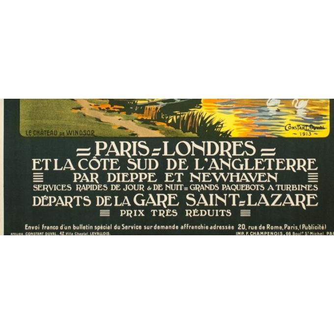 Vintage travel poster - Constant Duval - 1913 - Château De Windsor Uk Grande Bretagne - 41.5 by 29.7 inches - 3