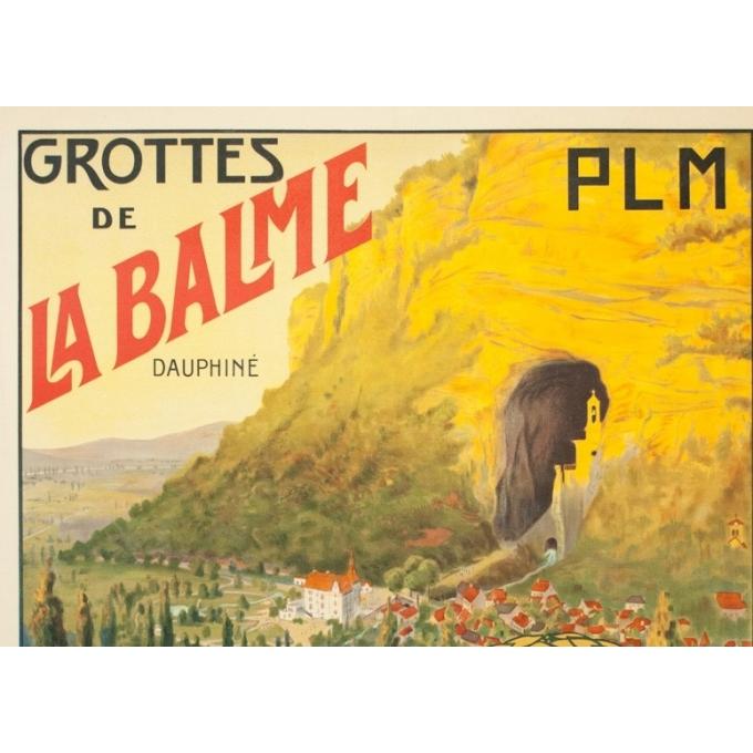 Vintage travel poster - Jacquier - Circa 1910 - Grotte De La Balme Dauphiné PLM - 42.1 by 30.1 inches - 2