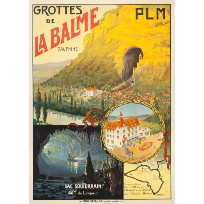 Affiche ancienne de voyage - Jacquier - Circa 1910 - Grotte De La Balme Dauphiné PLM - 107 par 76.5 cm