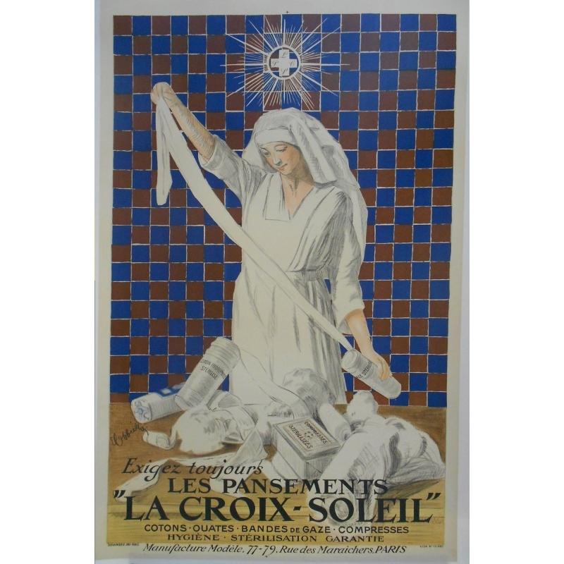 Affiche publicité ancienne : Les pansements La Croix-Soleil. Elbé Paris.