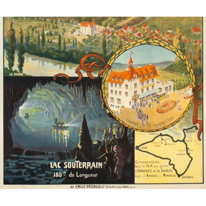 Affiche ancienne de voyage - Jacquier - Circa 1910 - Grotte De La Balme Dauphiné PLM - 107 par 76.5 cm - 3