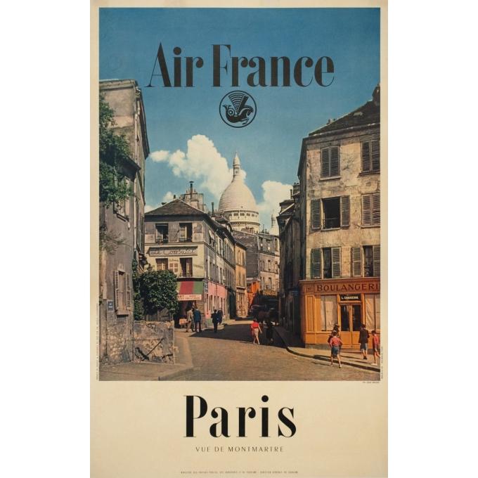 Vintage travel poster - Rieder - Circa 1960 - Air France Paris Vue De Montmartre - 39 by 24.4 inches