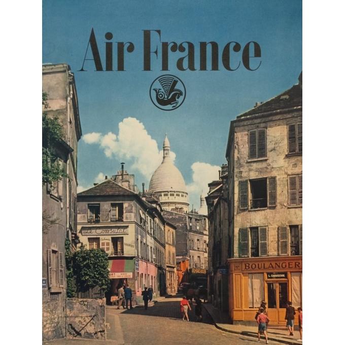 Vintage travel poster - Rieder - Circa 1960 - Air France Paris Vue De Montmartre - 39 by 24.4 inches - 2