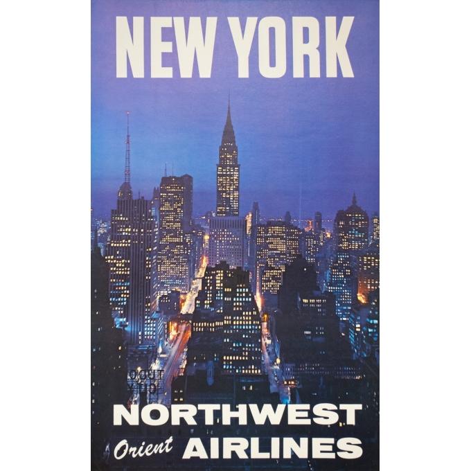 Affiche ancienne de voyage - Anonyme - 1960 - New York North West Air Lines - 102 par 63 cm