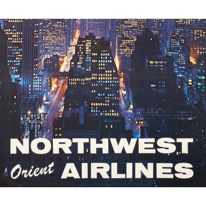 Affiche ancienne de voyage - Anonyme - 1960 - New York North West Air Lines - 102 par 63 cm - 3