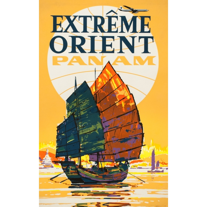 Vintage travel poster - Anonyme - 1960 - Extrême Orient Panam - 39.8 by 25 inches