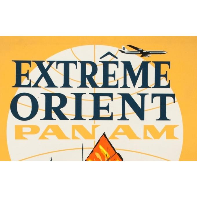 Affiche ancienne de voyage - Anonyme - 1960 - Extrême Orient Panam - 101 par 63.5 cm - 2