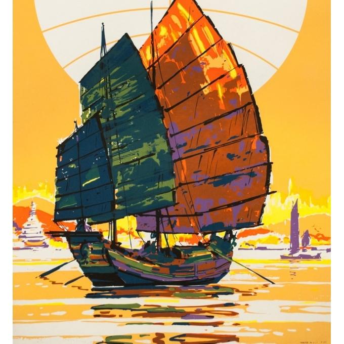 Affiche ancienne de voyage - Anonyme - 1960 - Extrême Orient Panam - 101 par 63.5 cm - 3